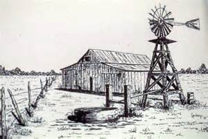 Metal Barn Plans West Texas Windmill Drawing By Johnny Lackey