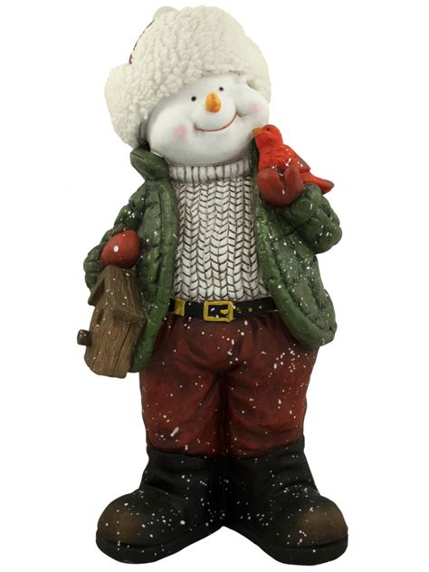 nordic resin snowman decor holding cardinal bird house