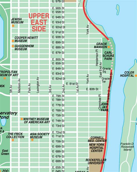 city east side east side new york city streets map