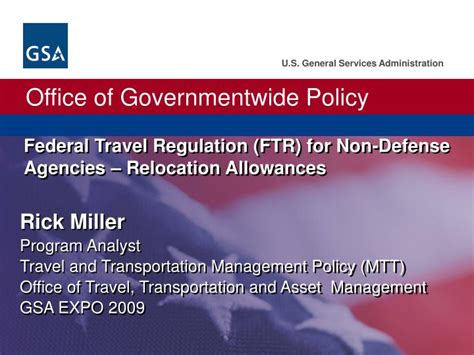 Office Of Allowances by Ppt Federal Travel Regulation Ftr For Non Defense