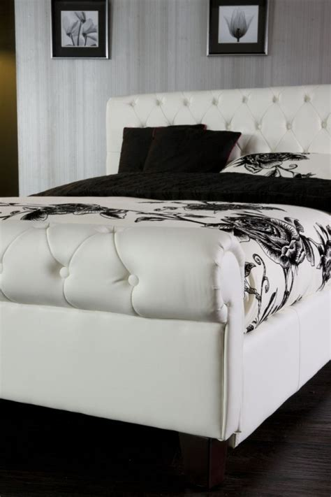 White Kingsize Bed Frame Limelight White 6ft Kingsize Faux Leather Bed Frame
