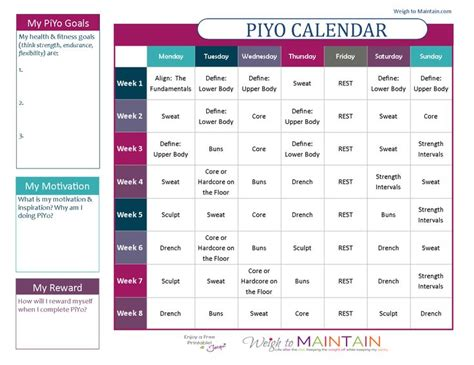 printable calendar program printable piyo calendar and workout schedule for both the