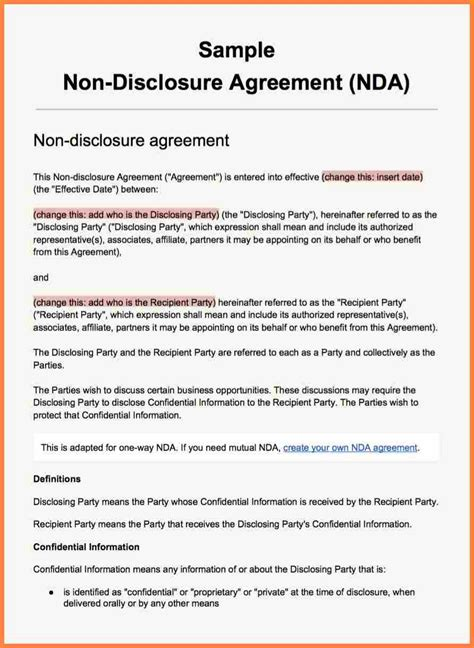 non disclosure agreement word template 7 non disclosure agreement template purchase