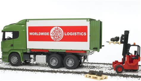 bruder bruder 03580 scania r serie lkw mit container wechselbr 252 cke und mitnahmestapler b