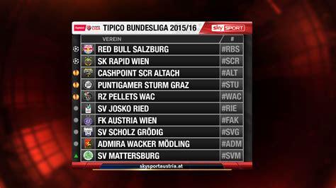 zeige mir die bundesliga tabelle tipico bundesliga spielplan 2015 2016 sky sport austria