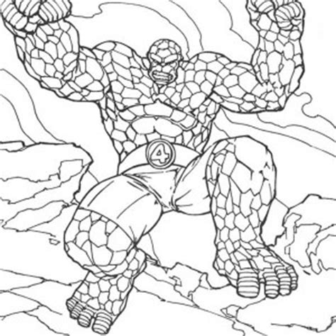 Thing Standing Tall In Fantastic Four Coloring Pages The Thing Coloring Pages