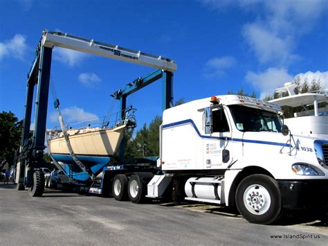 driving boat into lift trucking to island packet yachts refit program