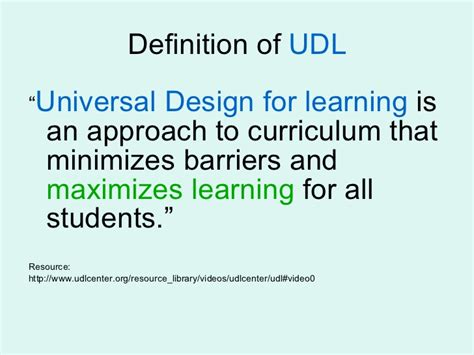 definition universal design for learning universal design for learning