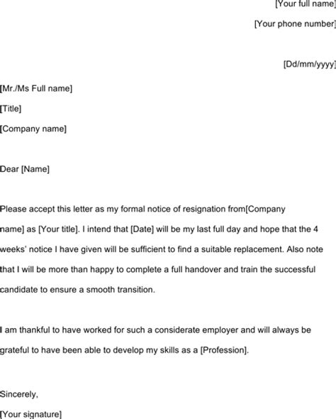 Typical Letter Of Resignation by Resignation Letter Template For Excel Pdf And Word