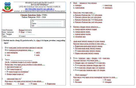Bahasa Indonesia Kls 2 Sma soal ukk bahasa indonesia kelas 2 sekolah dasar sd file guru