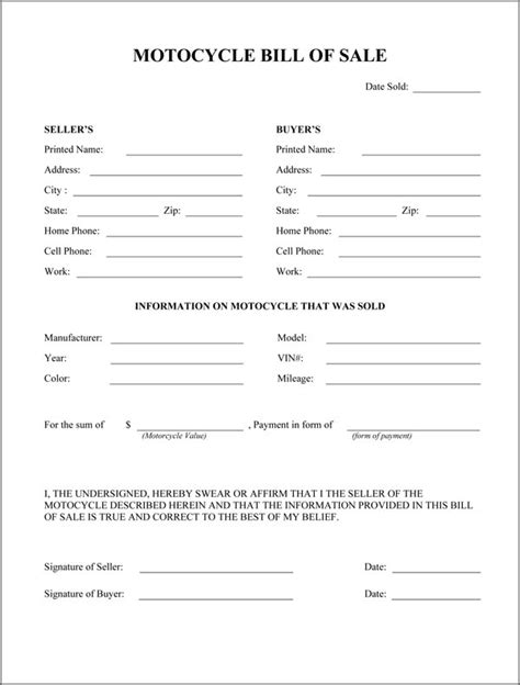 motorcycle bill of sale free printable documents