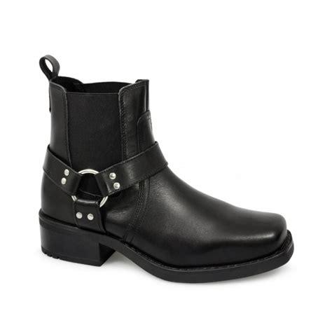 gringos harley mens leather ankle cowboy biker boots black