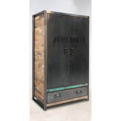 armoire bois recycl 233 2 portes 1 tiroir 120x55x200cm caravelle