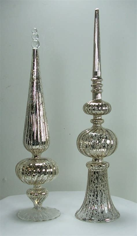 antique style silver mercury glass finial ornaments