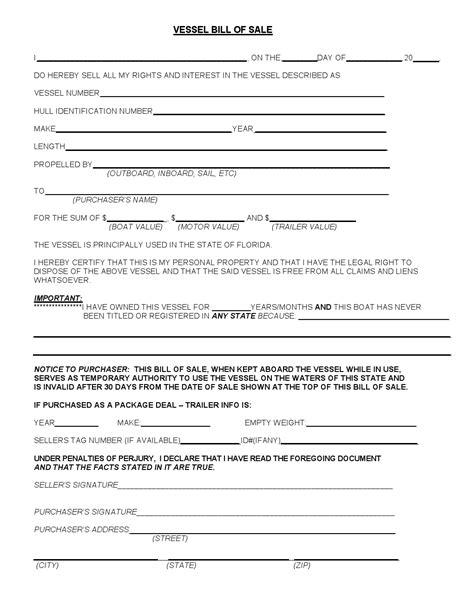 printable florida vehicle bill of sale free florida vessel bill of sale form download pdf word