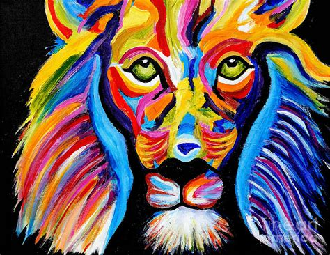 colorful painting colorful lion painting by art by danielle