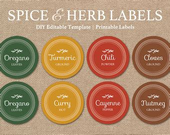 printable spice jar labels round editable spice labels printable diy printable kitchen