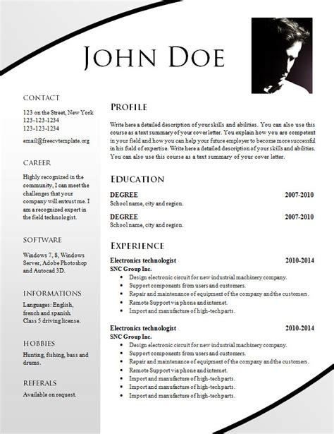template cv word 2015 free resume templates 695 701 free cv template dot org