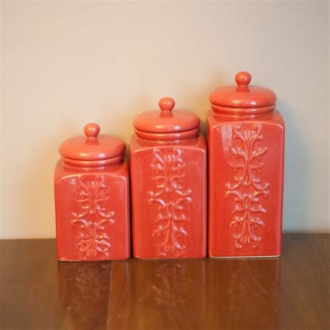 set of vintage coral ceramic canisters chinoiserie kitchen