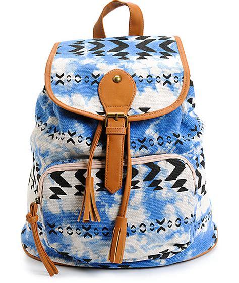 Backpack Tribal Blur fantasia blue tie dye tribal rucksack backpack at zumiez