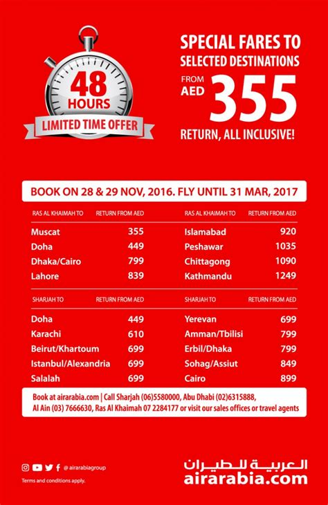 special fares to selected destinations air arabia