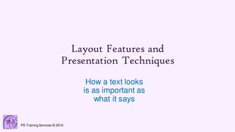 layout features in text layout features and presentation by pstrainingservices