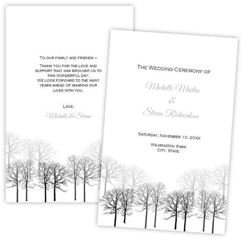 Folded Wedding Program Template Winter Forest Diy Printable Template Instant Download Winter Program Template