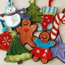 gingerbread and snowman felt christmas ornament set digital