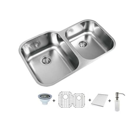 60 40 stainless steel undermount sink ukinox 31 5 in undermount 60 40 split bowl