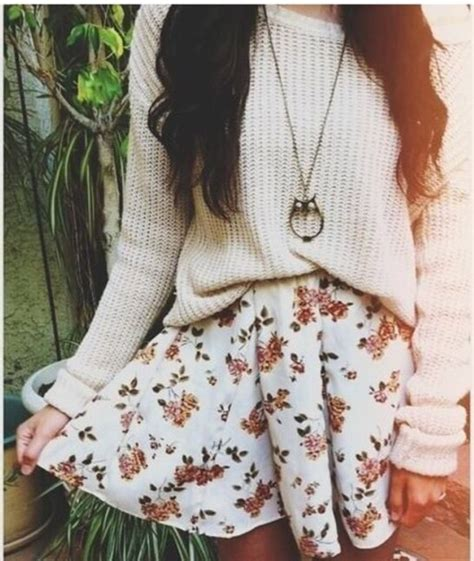 cute floral skirt outfits for teens skirt cute cute sweaters cute skirts winter sweater