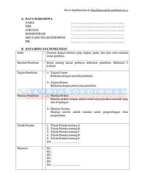 format proposal judul skripsi format outline skripsi jurusan manajemen fe unsoed