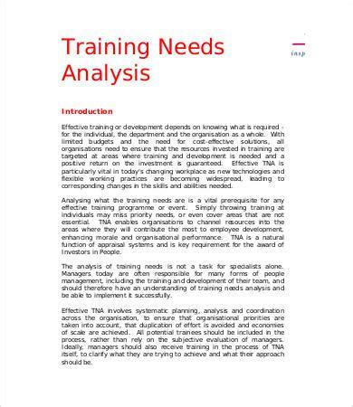 simple needs analysis template sle needs analysis templates 9 free sle exle