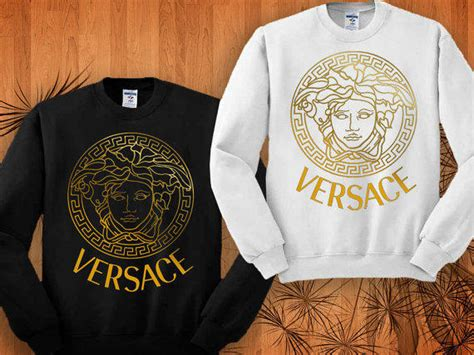 Versace logo gold style sweatshirt black from framero on etsy