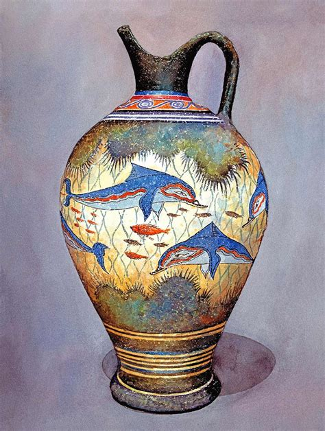 What Were Vases Used For by Minoan Urn 2 Colourful Dolphins Coral And Fish Decorate