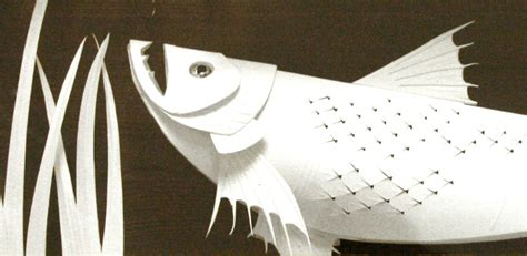 Paper Fish - paper sculpture salmon fish in edwardian trophy by