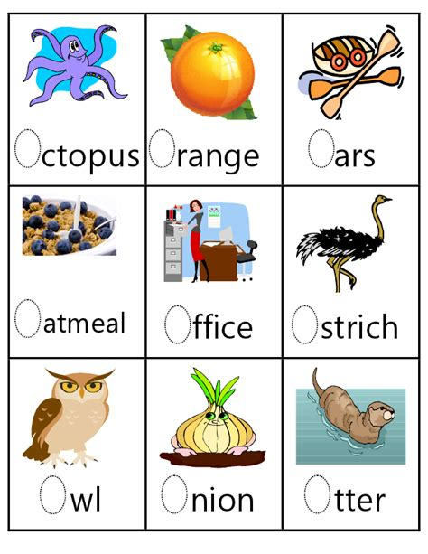colors that start with o letter o vocab letter oo tot school kindergarten school