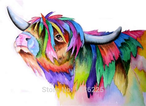 colorful cow painting colorful cow pop painting wall painting picture