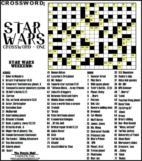 printable crossword puzzle star wars stars and galaxies crossword puzzle pics about space