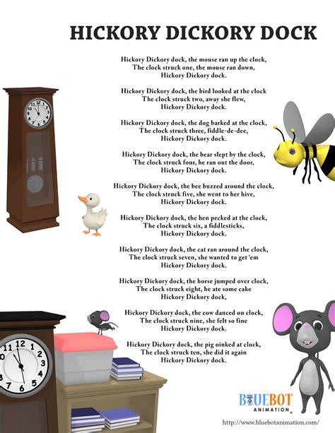 printable lyrics for nursery rhymes hickory dickory dock nursery rhyme lyrics free printable