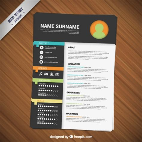 minimalist resume template vector free download