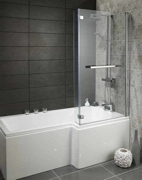 square l shaped bath package with shower screen