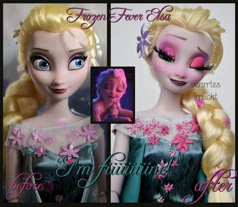Elsa Hair Style Doll by Repainted Ooak Frozen Fever Sick Elsa Doll By
