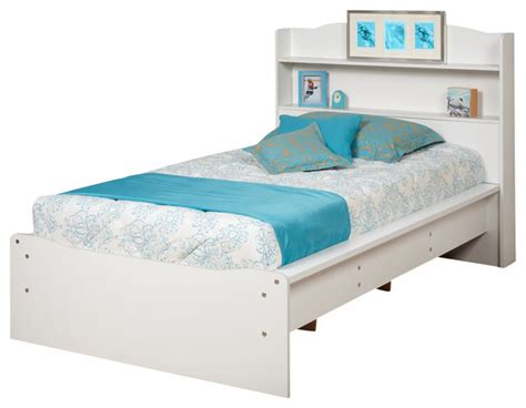 Platform Bed With Bookcase Headboard by Prepac Aspen White Platform Bed With Bookcase