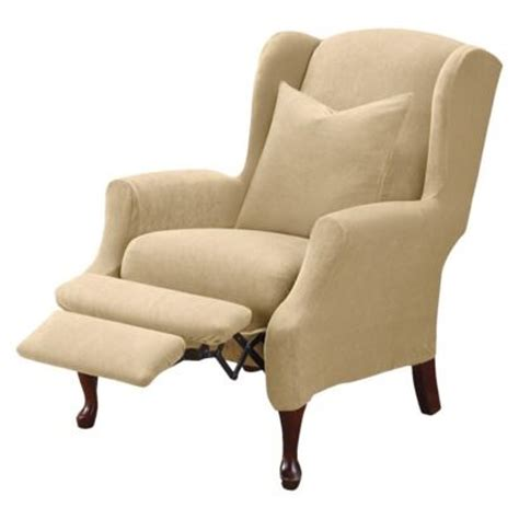 wing chair recliner slipcovers sure fit stretch pique wing recliner slipcover cream