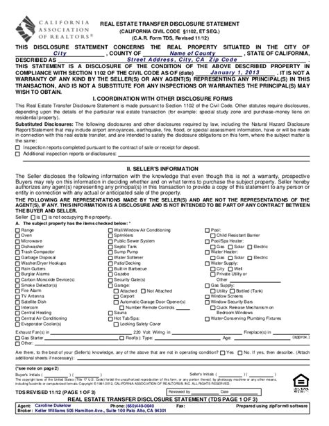 Property Transfer Records Tds Real Estate Transfer Disclosure Statement 1112