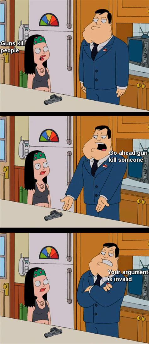 American Dad Meme - stan haley argue about gun control on american dad