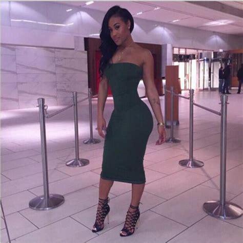 Dress Midi Gaun Import Green Pattern Size L 211827 womens bodycon cocktail club cotton blend strapless midi dress ebay