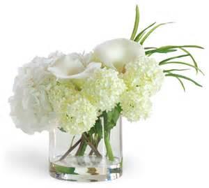 white flower arrangements hydrangea calla white flower arrangement traditional artificial flowers plants and
