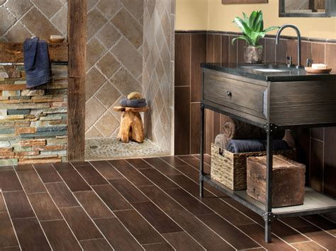 Walnut Bathroom Flooring by Exotica Walnut Wood Porcelain Tile Transitional