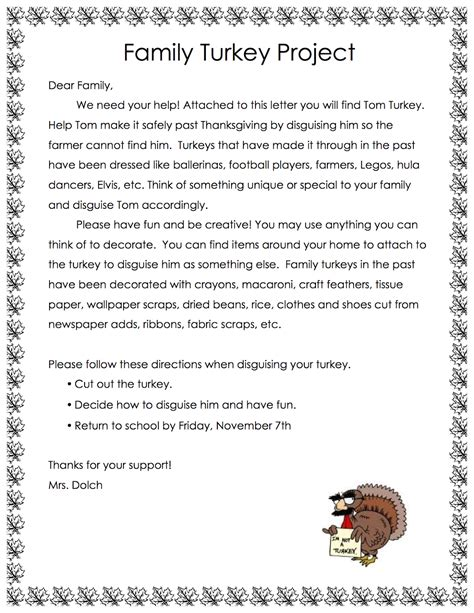 Family Turkey Project Template mrs dolch s pm kindy family turkey project